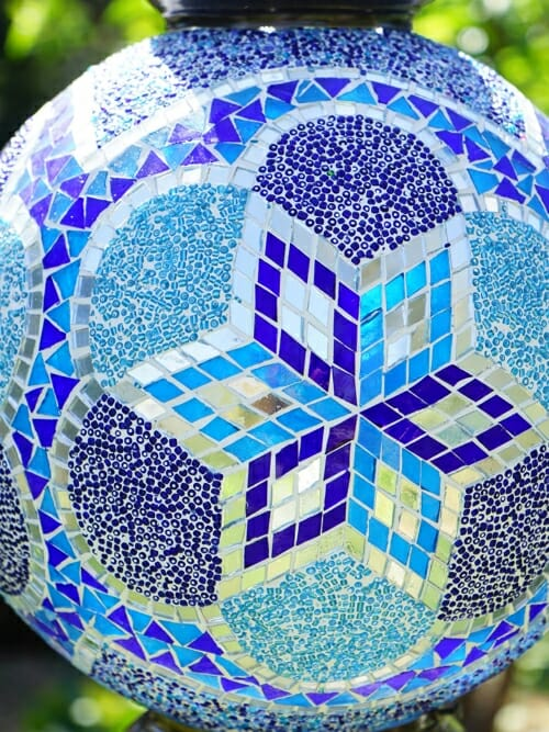 Blue mosaic celing light close up