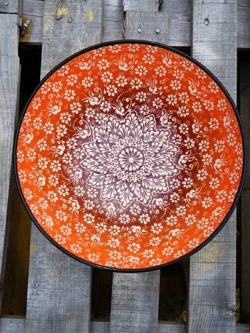 30 cm Handpainted Ceramic Salad Bowl Orange to Black