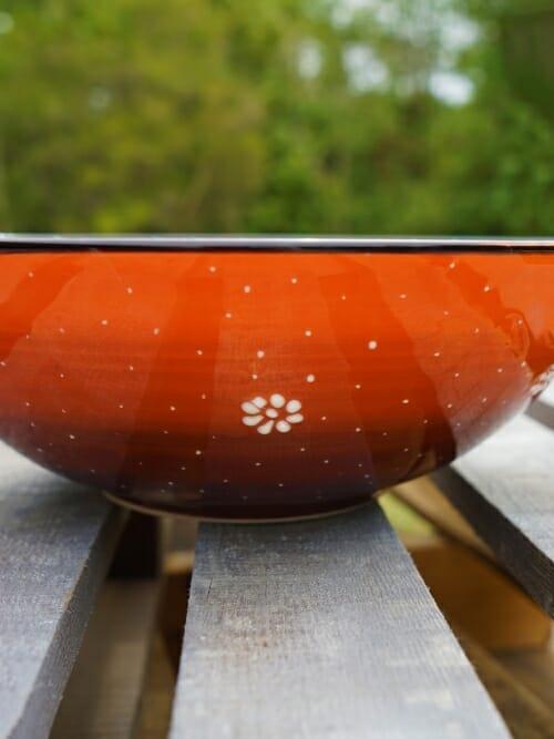 30 cm Handpainted Ceramic Salad Bowl Orange to Black side