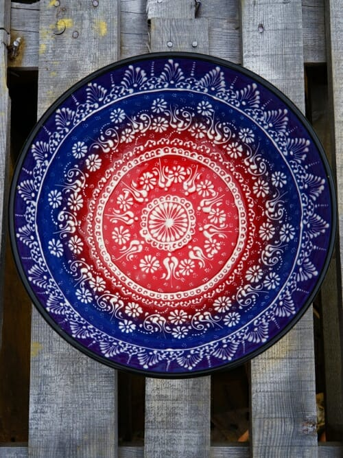 30 cm Handpainted Ceramic Salad Bowl dark blue to red