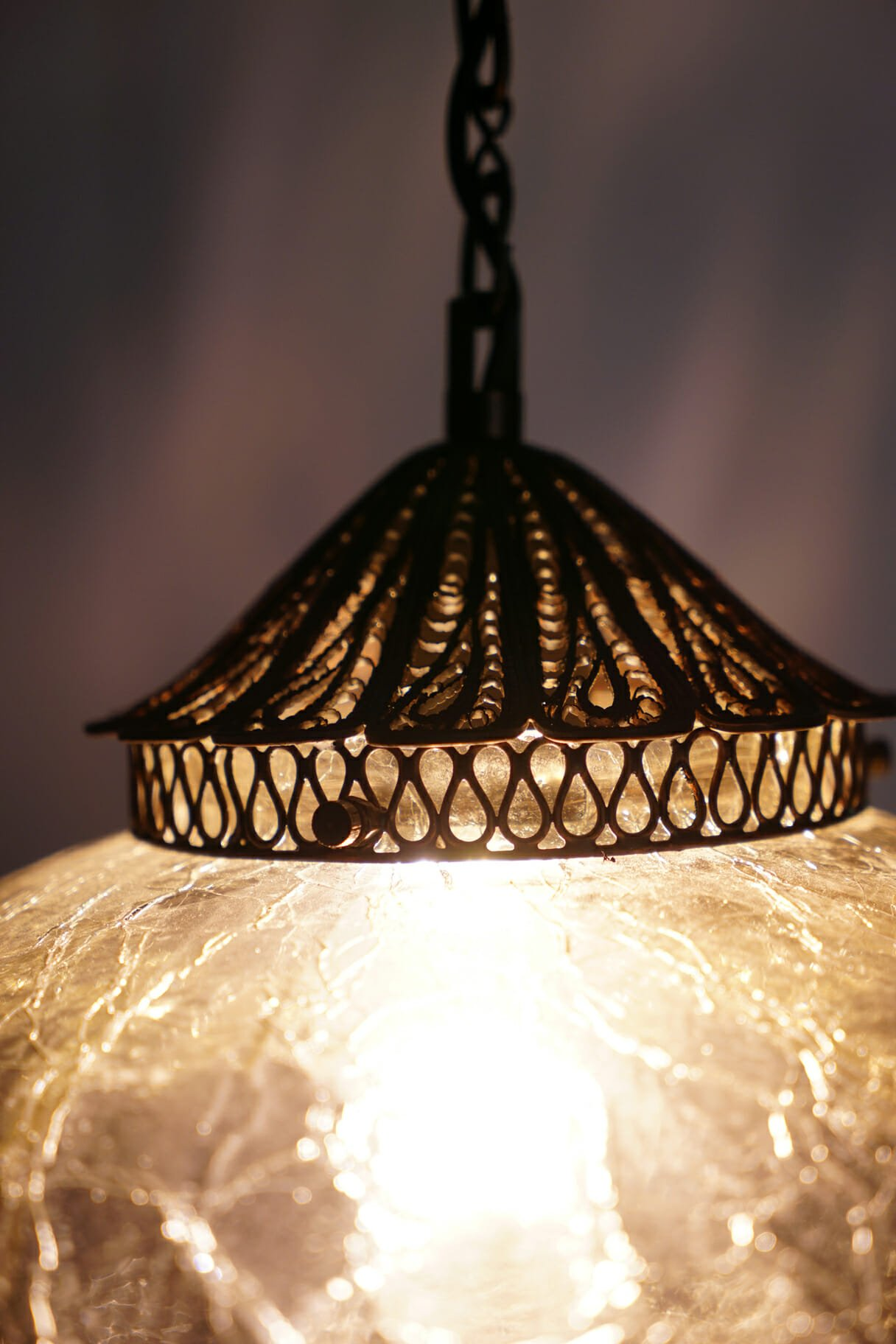 The lilian the dancing pixie 32cm filigree cracked glass ceiling light close up top aloadofball Images