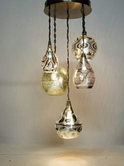 5 piece silver handmade iron pendant chandelier whole piece