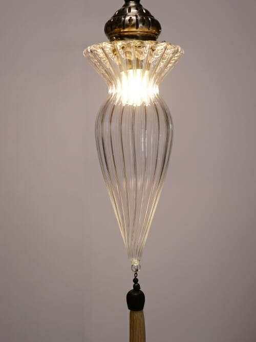 Art Deco glass hanging pendant light with tassel lights on middle piece