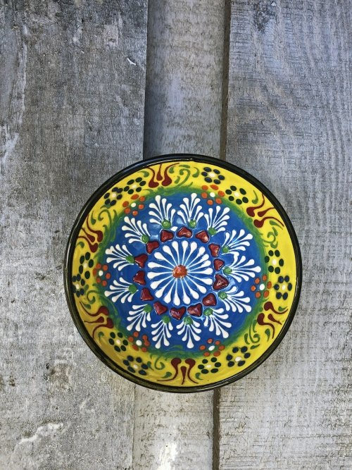 10 cm Hand painted Turkish ceramic dipping bowl yellow to turquoise
