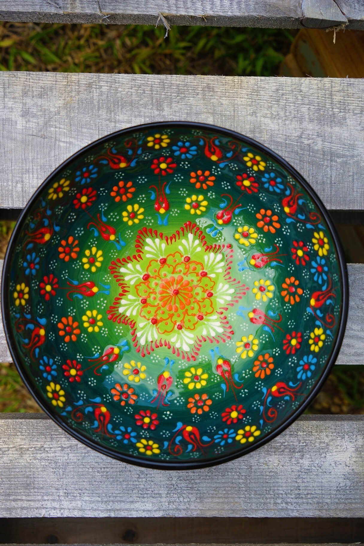 Bowl With Green Olives Painted On It