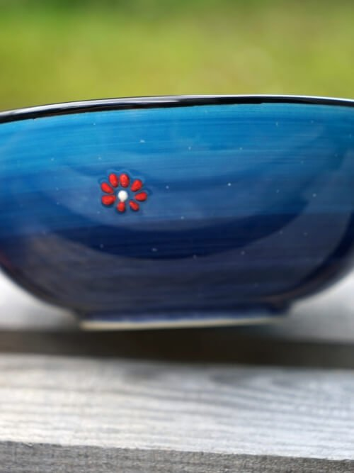 20cm hand painted soup bowl light blue to dark blue side