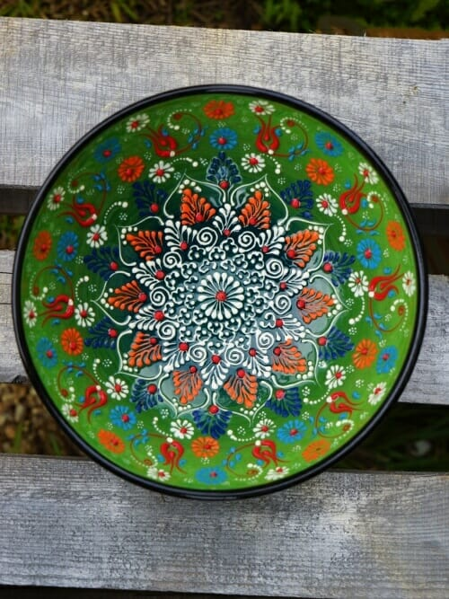 20cm hand painted soup bowl light green to dark green