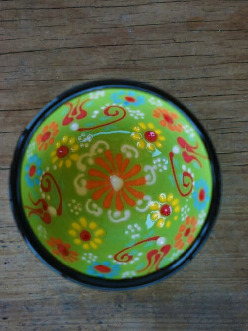 5cm hand painted dipping bowl lime green
