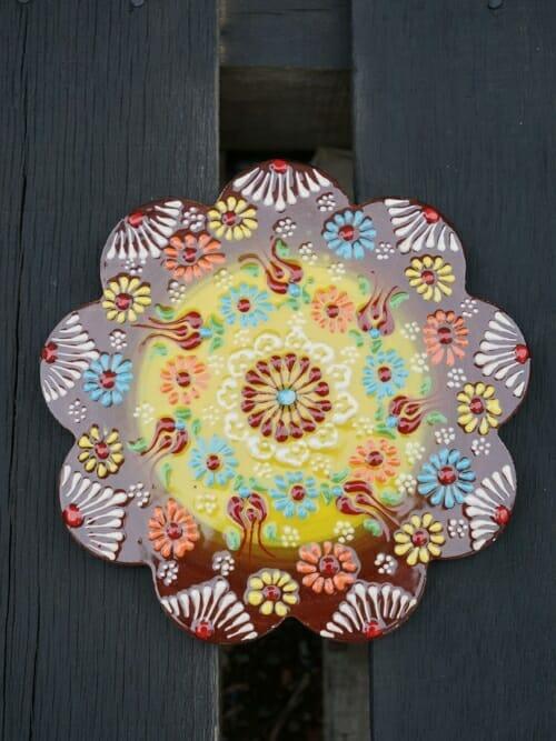 Trivet Hand Painted Ceramic Acacia