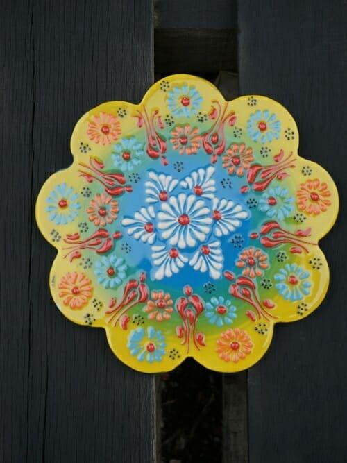 Trivet Hand Painted Ceramic Golden Wattle