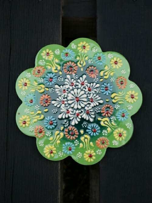 Trivet Hand Painted Ceramic Light Eucalyptus