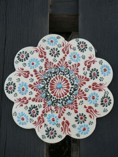 Trivet Hand Painted Ceramic Sturt's Desert Pea