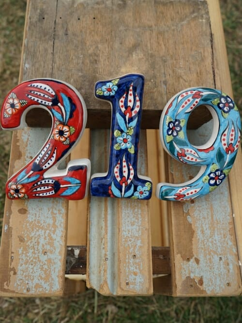 Coloured decorative house number mixed 219