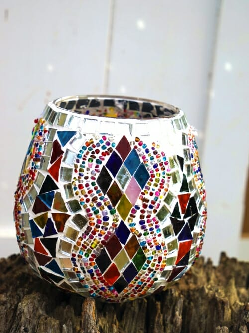 diamond glass table mosaic 13cm candle holder