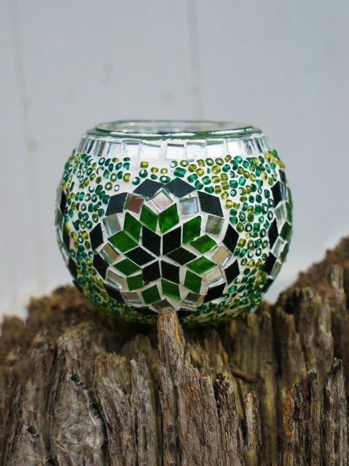 green glass table mosaic 11cm candle holder