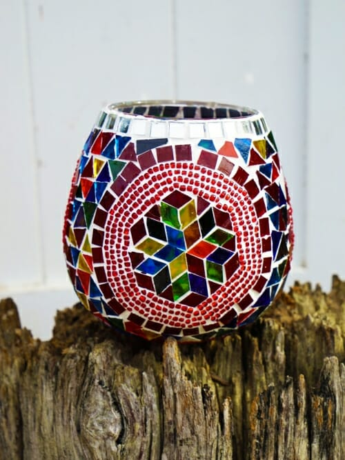 hexagon glass table mosaic 13cm candle holder