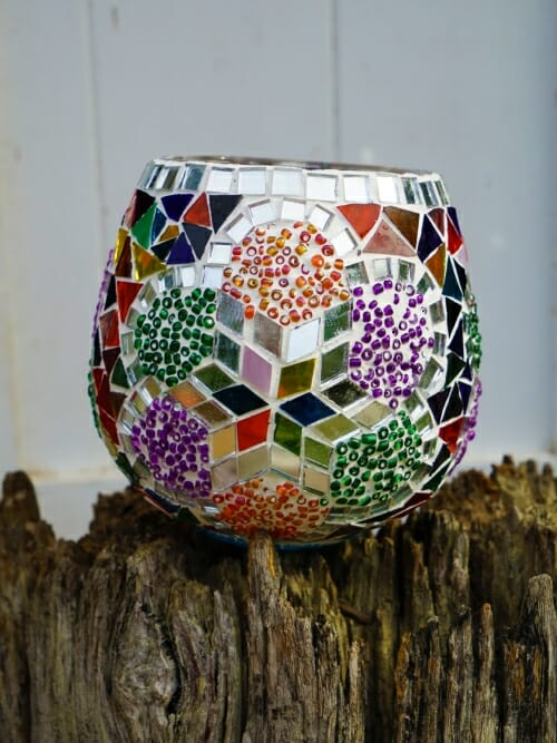 multicolour flower glass table mosaic 13cm candle holder