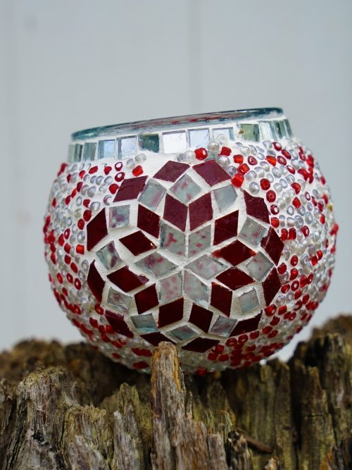 red and white glass table mosaic 8cm candle holder