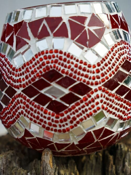 red glass table mosaic 13cm candle holder close up