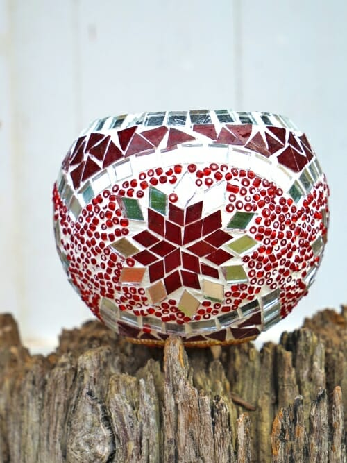 red glass table mosaic 11cm candle holder