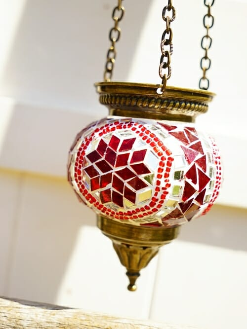 10cm Mosaic Glass Hanging Candle Holder red