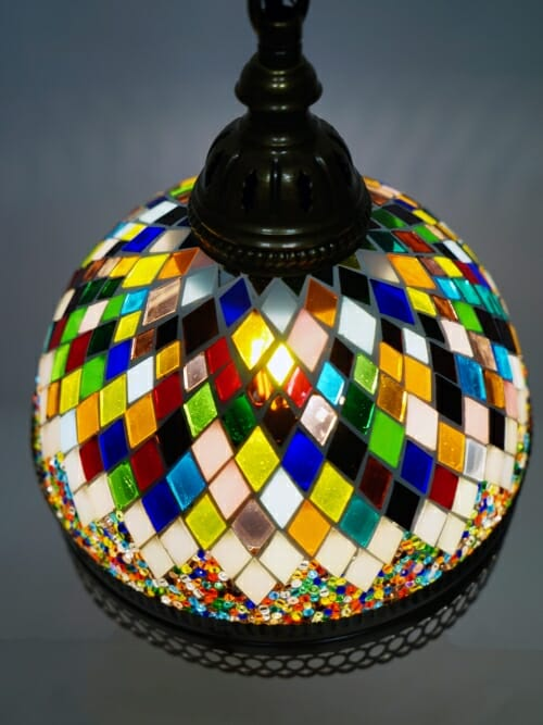 stained glass ceiling pendant light looking down