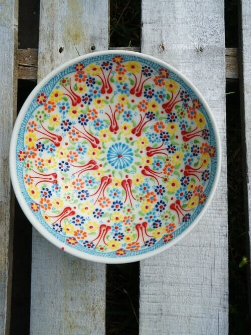 20cm white ceramic bowl hand painted multicolour whole