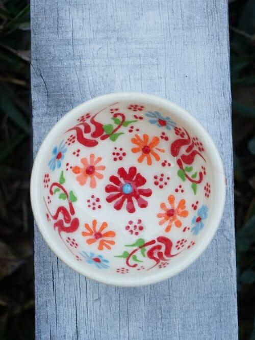 5 cm hand painted Turkish bowl white