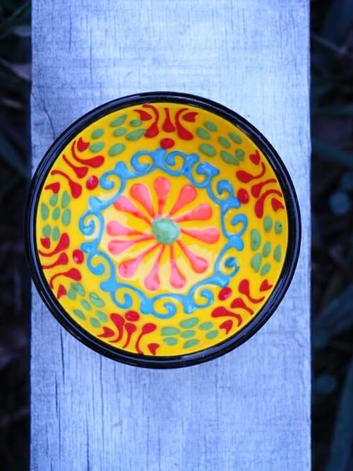 5 cm hand painted Turkish bowl yellow