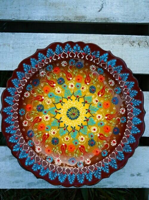 Autumn Brown to Yellow hand painted turkish platter