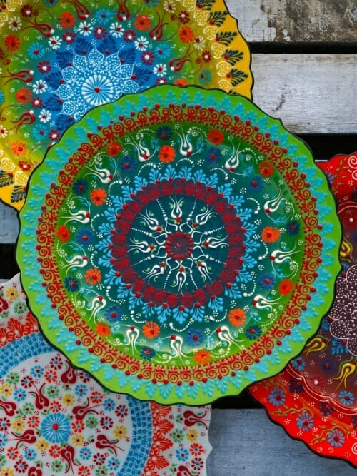 Group of hand painted Turkish Platters close up