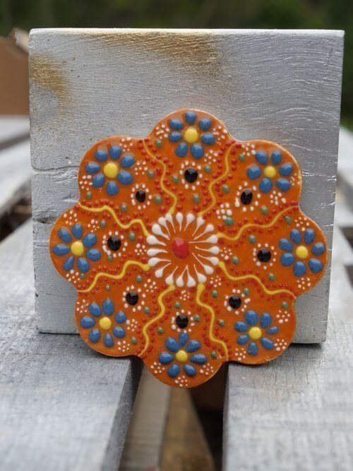 burnt orange hand painted ceramic coaster