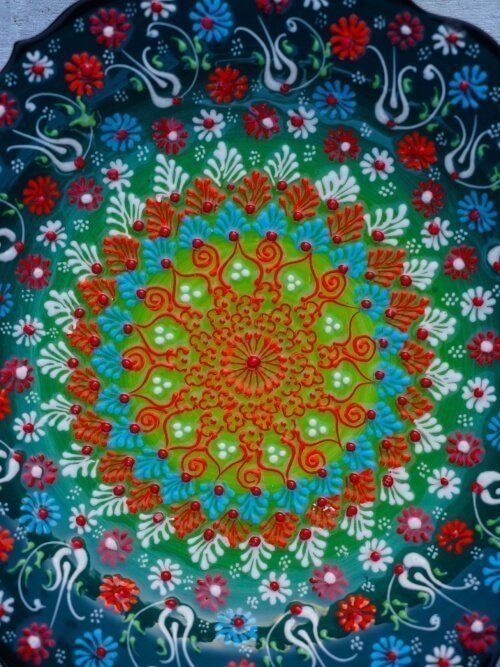 dark green hand painted turkish platter close up
