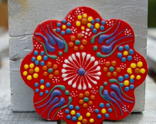 hand painted ceramic coaster red