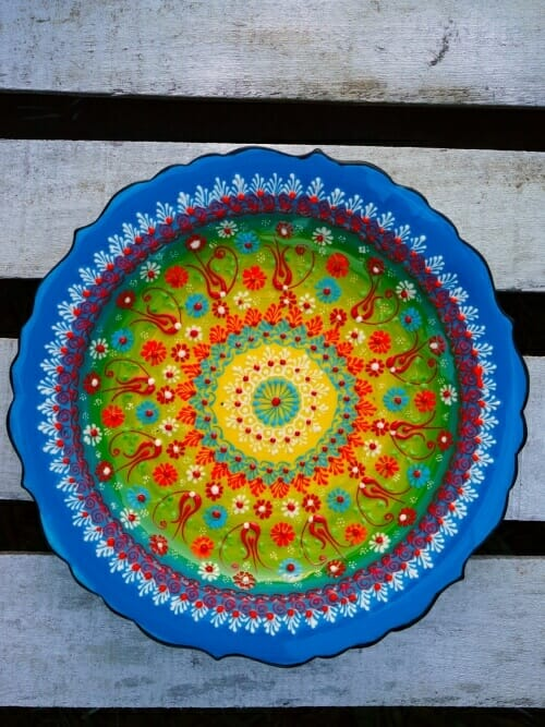 turquoise hand painted turkish platter