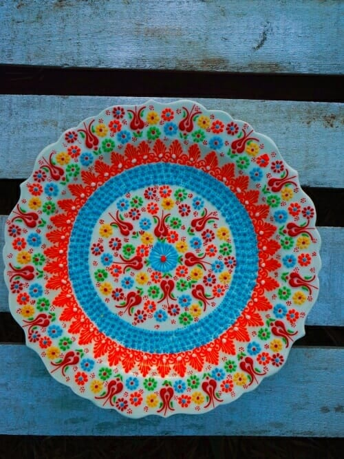 white hand painted turkish platter