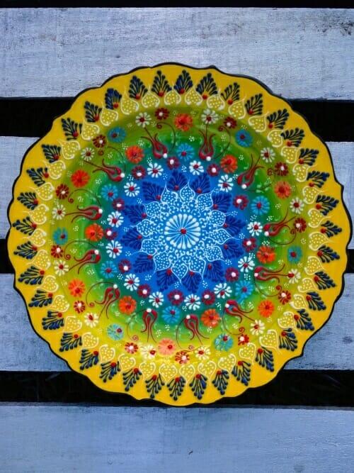 yellow hand painted turkish platter