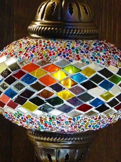 Diamond UFO Mosaic Table Lamp close up