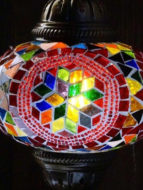 Hexi UFO Mosaic Table Lamp close up