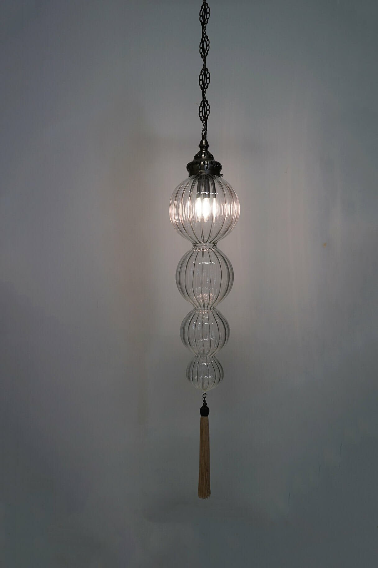 Large glass bauble the dancing pixie large blown glass bubble ceiling pendant light with tassel with chain aloadofball Choice Image