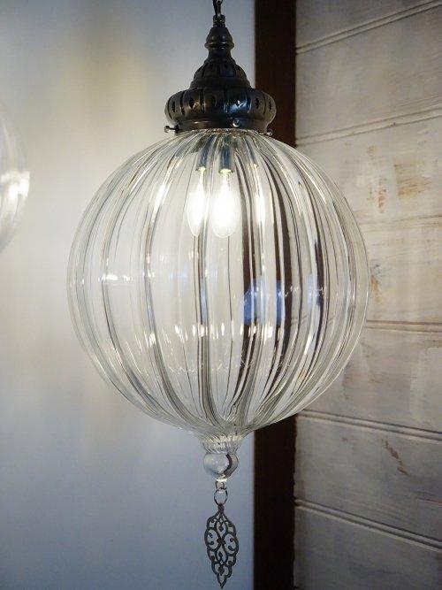 Large hand blown glass ceiling light ball