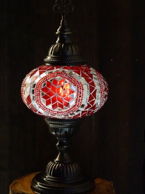 Red UFO Mosaic Table Lamp