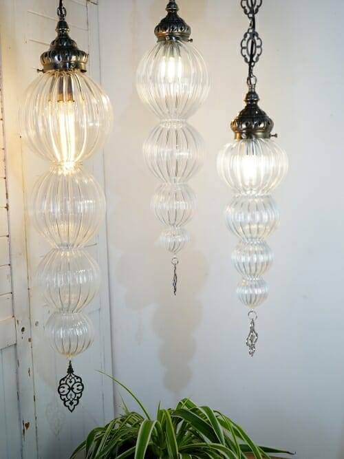 small medium large bauble hand blown glass pendant ceiling light with plant