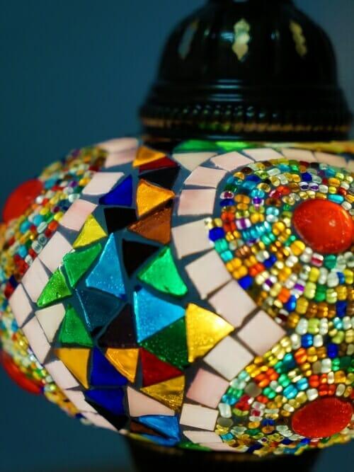 ufo button mosaic multi coloured table lamp close up