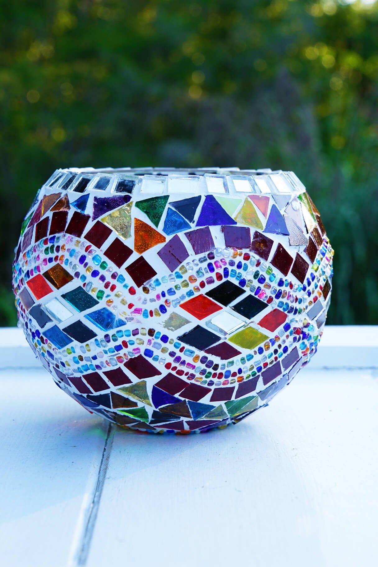 11cm wave mosaic candle holder