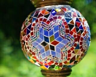 Blue Star Large Hanging Handmade Mosaic Candle Holder