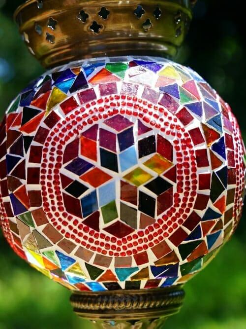 Hexagon Close up Large Hanging Handmade Mosaic Candle Holder