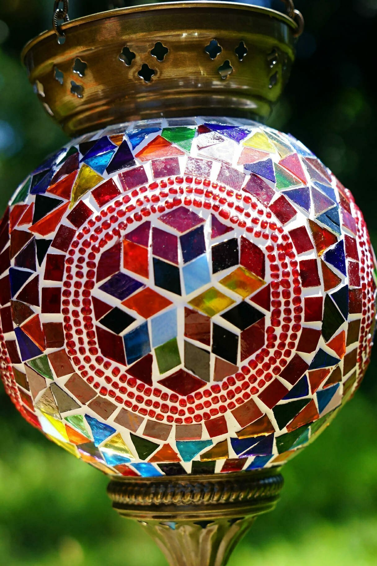 Hexagon Mosaic Hanging Candle Holder Large The Dancing