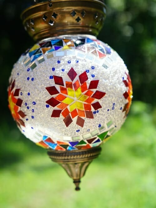 Owl Large Hanging Handmade Mosaic Candle Holder