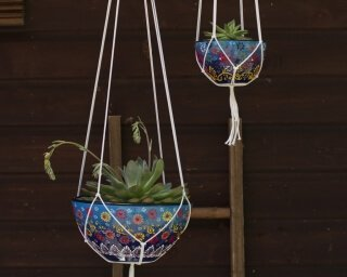 Large and Small Hanging Pots hand painted ceramic sky blue